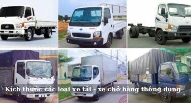 Kích thước các loại xe tải, xe chở hàng thông dụng